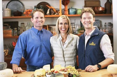 Liam Callahan, Diana Callahan, and  Garrett Martin and at Sonoma County Bellweather Farms with cheese