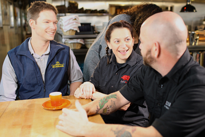 Garrett Martin with Duskie Estes and John Stewart at Zazu Kitchen and Farm in Sebastopol, CA.