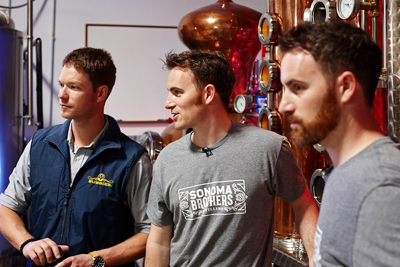 Garrett Martin with Chris and Brandon Matthies at Sonoma Brothers Distilling in Windsor, CA