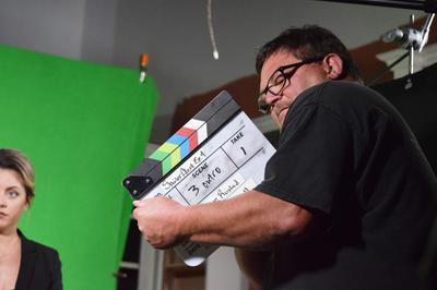 Alan Campbell with clapboard