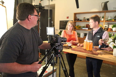 Alan Campbell filming Garrett and carrots