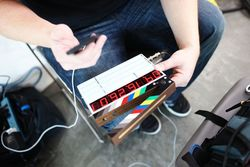 digital clapboard with seven-segment display