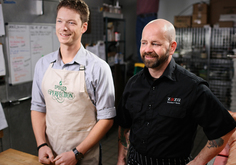 Garrett Martin and John Stewart in the Spoiled to Perfection kitchen