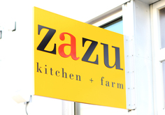 zazu kitchen and farm sign