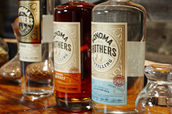 bottles of Sonoma Brothers Distilling Vodka Whiskey and Gin