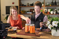 Jennifer Harris and Garrett Martin with pickled carrots
